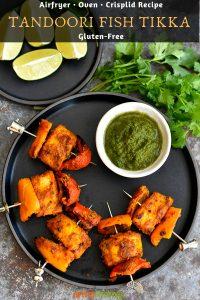 Tandoori Fish Tikka with a side of cilantro chutney
