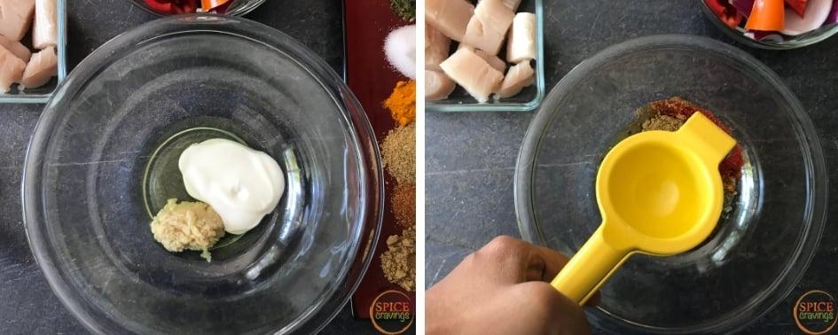 Adding oil, yogurt, lemon and spices to make Tandoori marinade