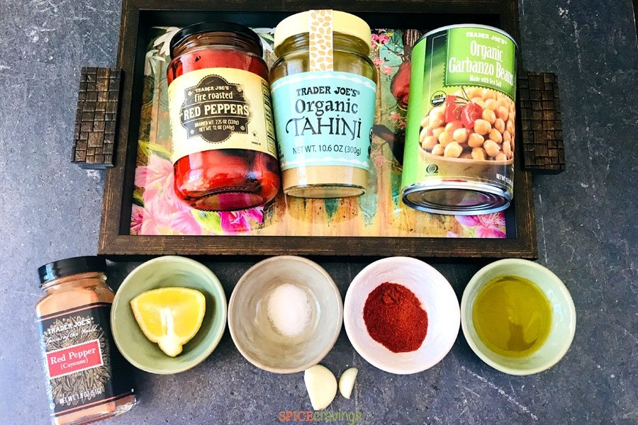 Ingredients needed to make Roasted Red Pepper hummus.