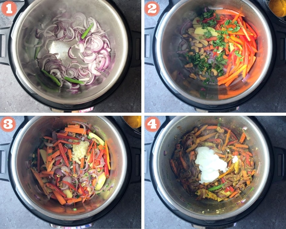 Step by step photos of how to make vegetable Biryani in an instant pot