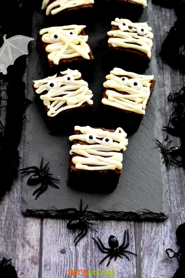 Pieces of brownies iced for halloween theme