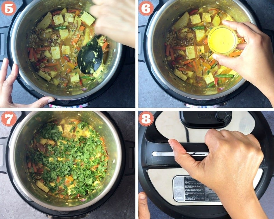 step by step pictures showing how to cook vegetable biryani in pressure cooker