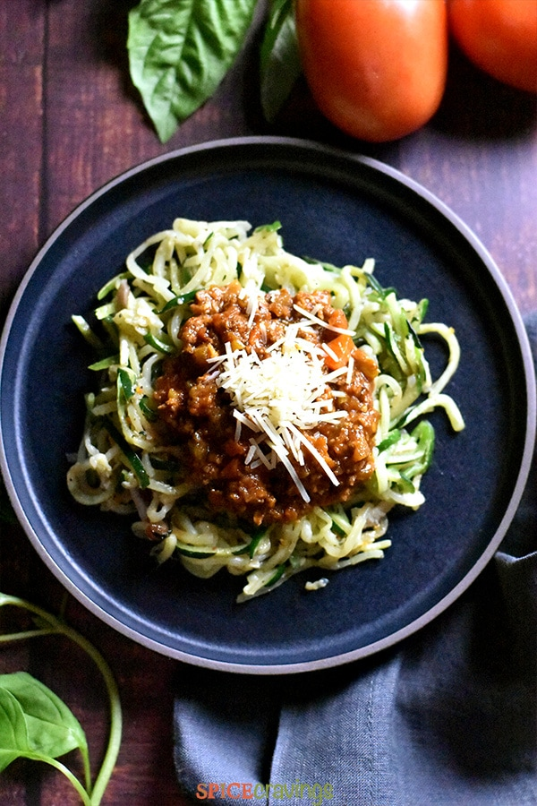 Bolognese Sauce served over zucchini noodles
