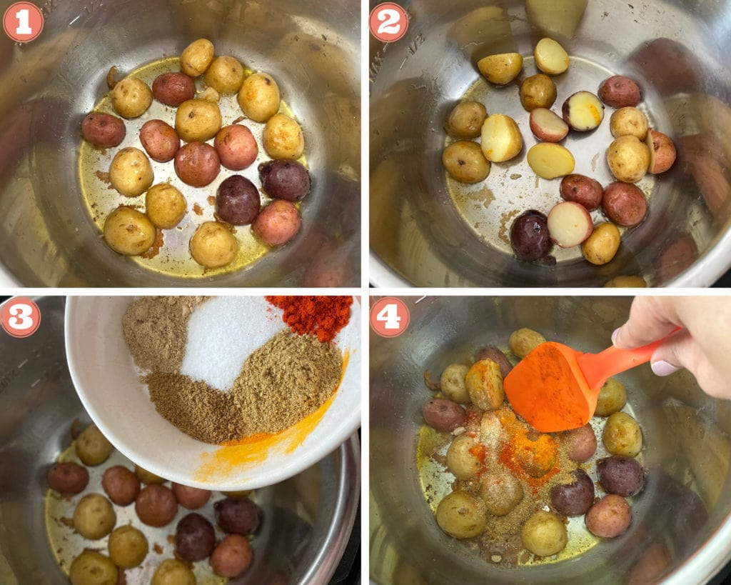 Step by step pictures on how to make bombay potatoes in Instant Pot