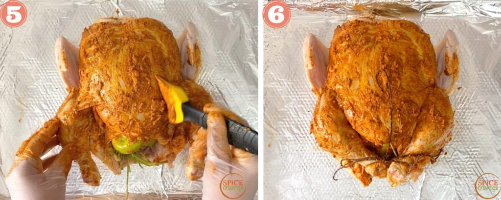 Brush marinade liberally over the chicken and tie the legs with kitchen twine