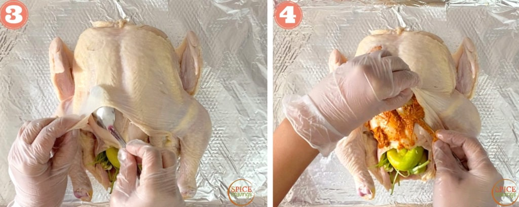 Inserting the marinade under the skin of the chicken