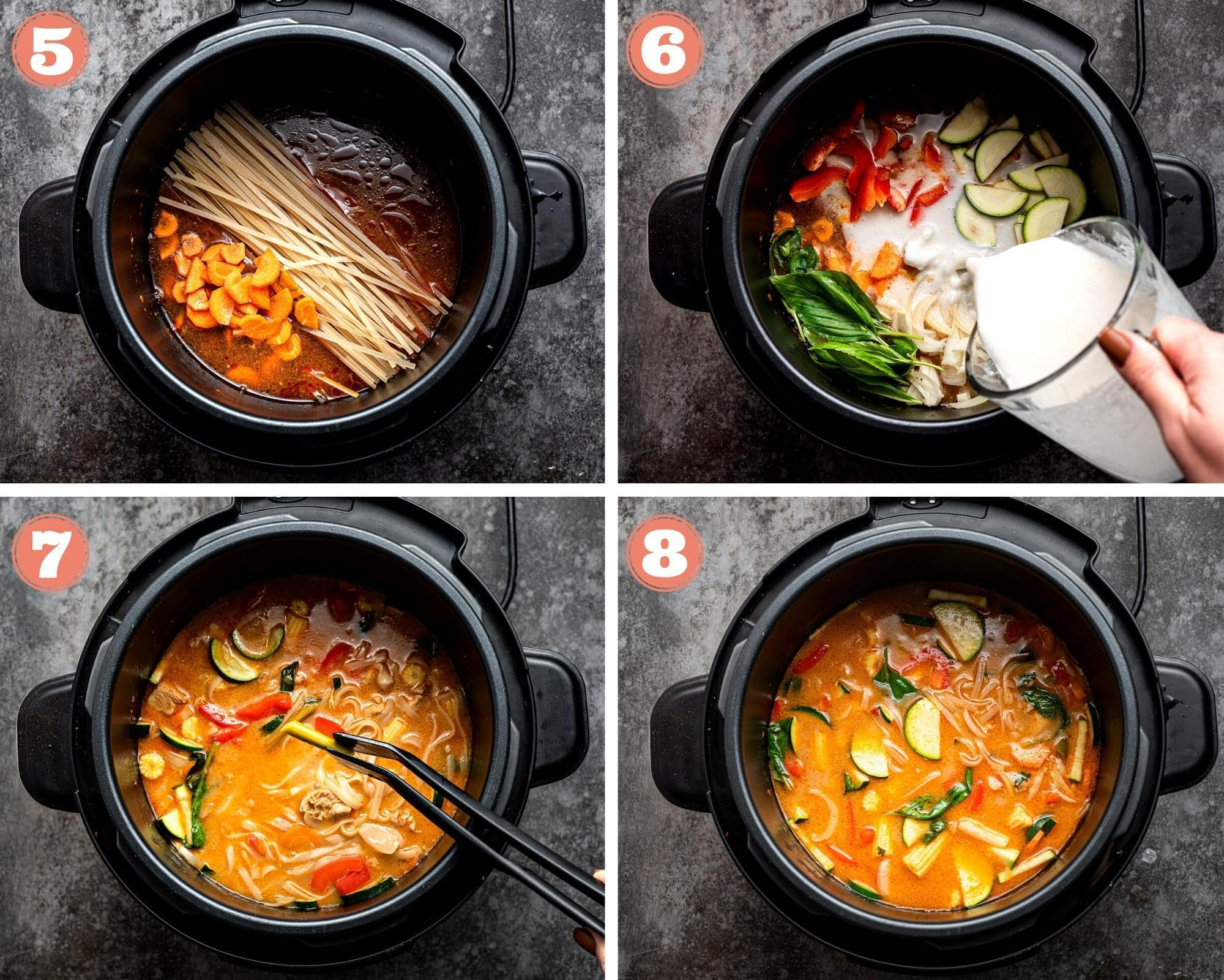 Adding noodles and vegetables to the Instant Pot