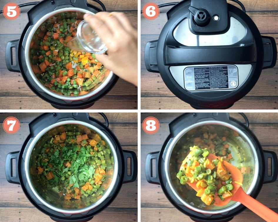 Adding water and pressure cooking green beans in the Instant Pot