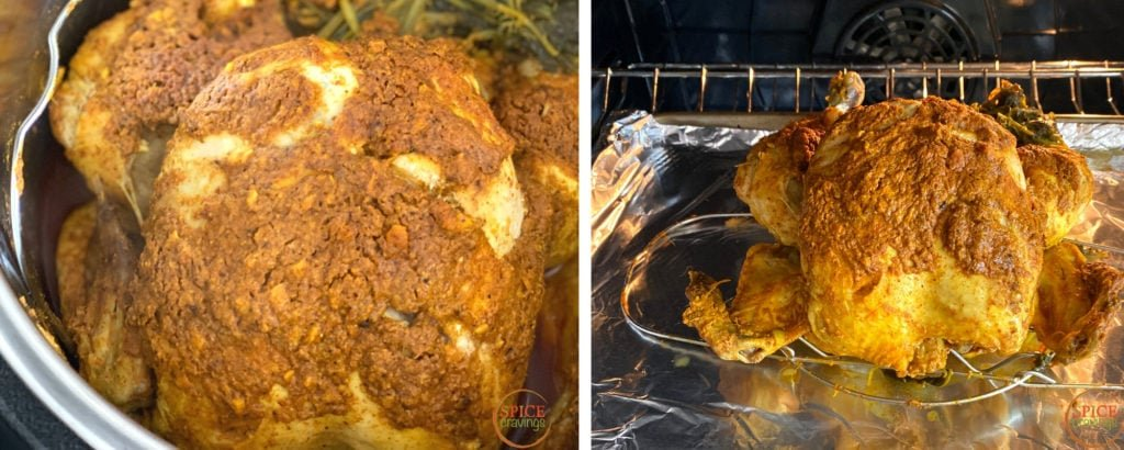 Broiling the cooked chicken under the broiler for crisping the skin