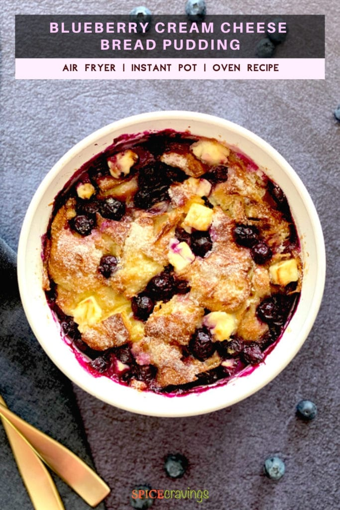 Blueberry bread pudding served in a white ceramic bowl
