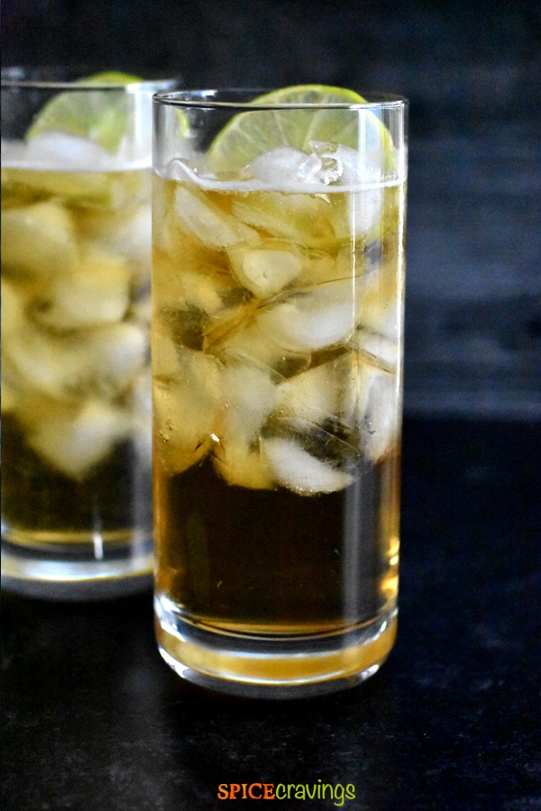 Two tall glasses of Dark & Stormy Cocktail