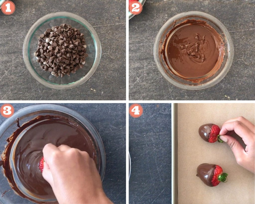 chocolate chips in glass bowl, melted chocolate, dipping strawberry in melted chocolate, chocolate dipped strawberry