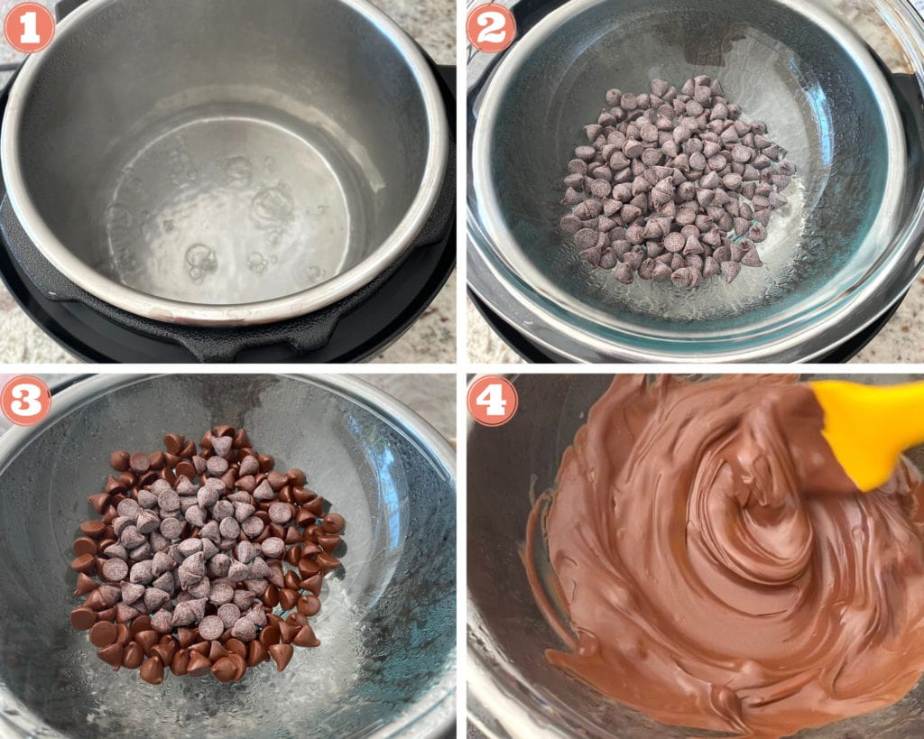 Instant Pot, chocolate chips in glass bowl, melting chocolate chips, stirring melted chocolate