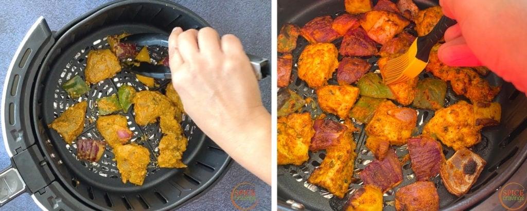 Grilling chicken tikka pieces in an airfryer
