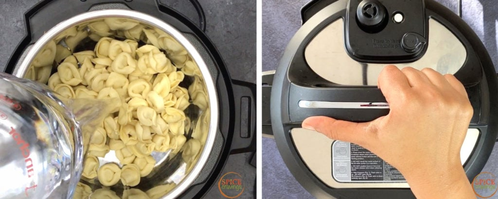 water pouring into instant pot bowl with tortellini, hand sealing instant pot