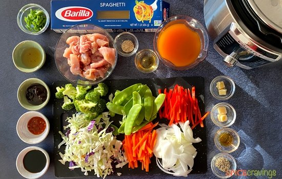 All ingredients needed for Chicken Lo Mein Recipe