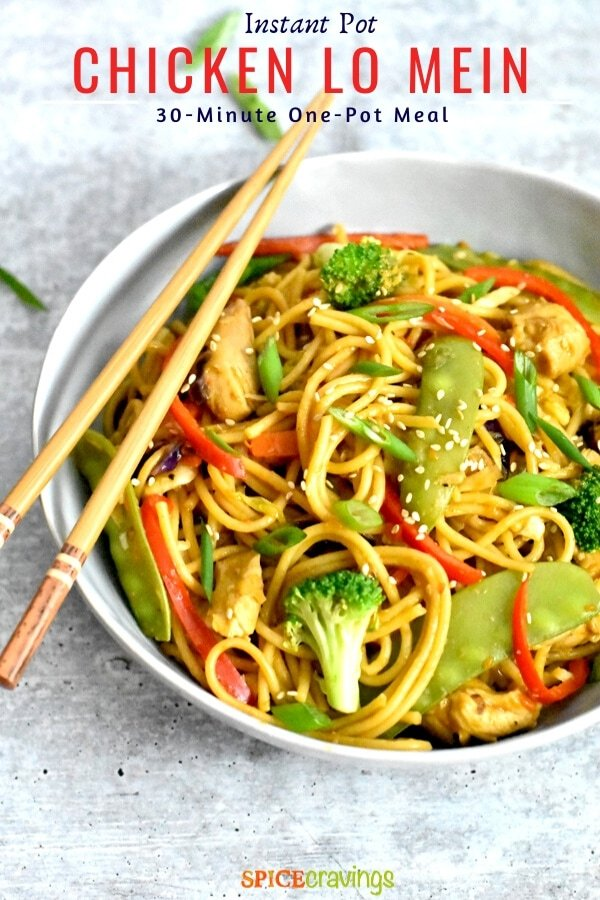 Chicken Lo Mein noodles garnished with spring onion and sesame seeds