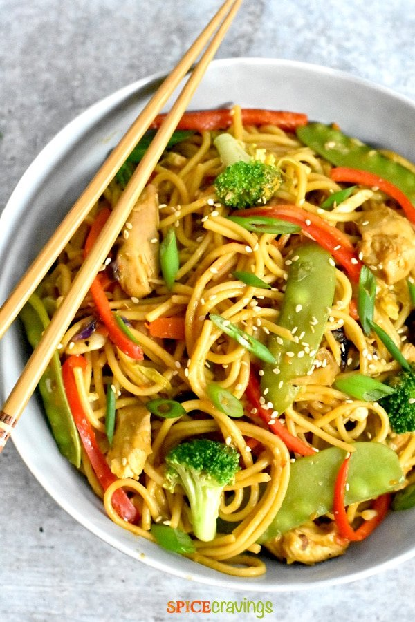 Chicken Lo Mein with assorted vegetables