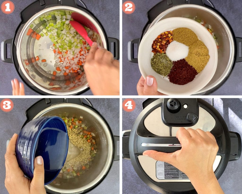 sauteing vegetables in instant pot, bowl of spices in white bowl, pouring liquid in instant pot, hand sealing instant pot