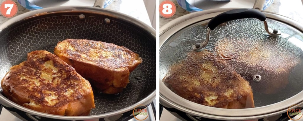 nutella french toast cooking in skillet and covered skillet with french toast