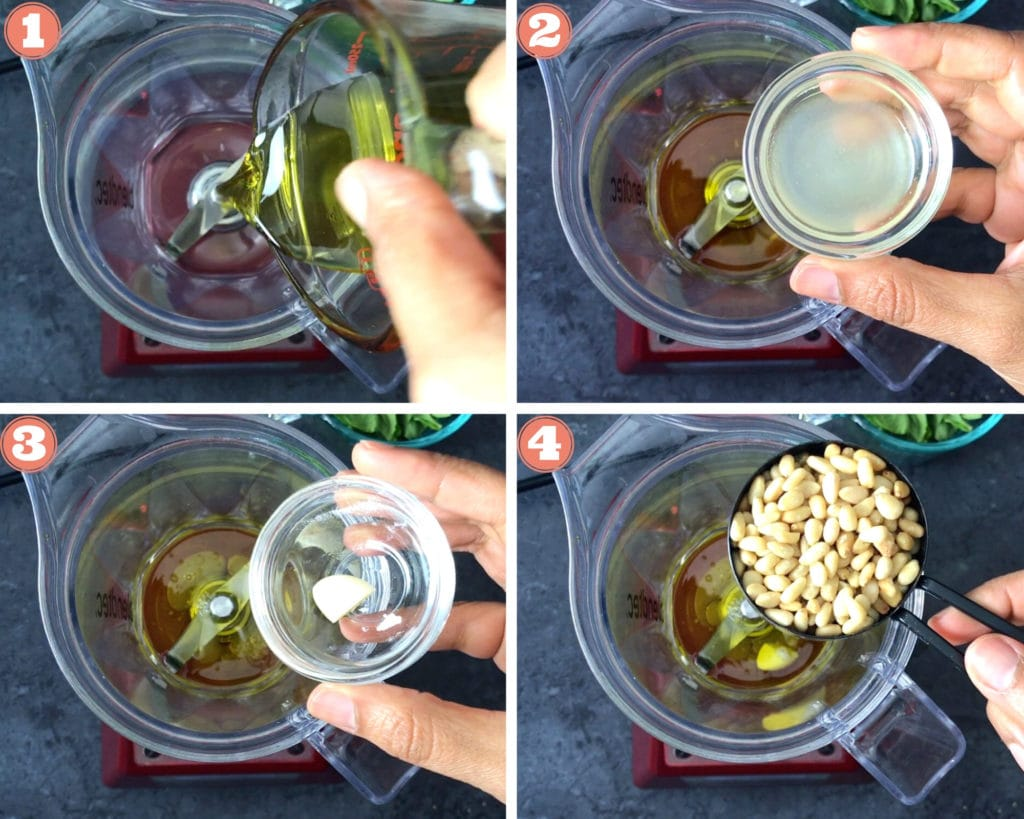 olive oil pouring in blender, hand holding small bowl of lemon juice, hand holding small bowl of garlic, hand holding measuring cup with pine nuts
