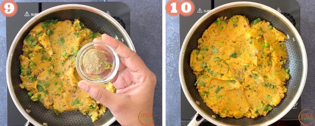 hand holding small bowl with spices, samosa potato filling in skillet