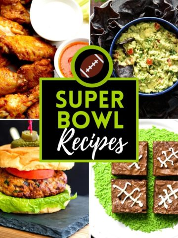 Four images of wings, guacamole, burger and brownies