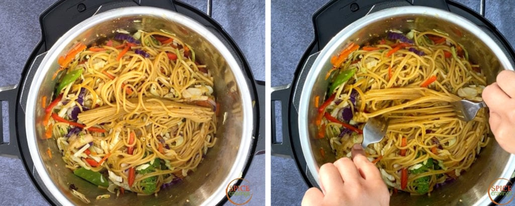 Pictures showing how to Unclump Pasta or Noodles