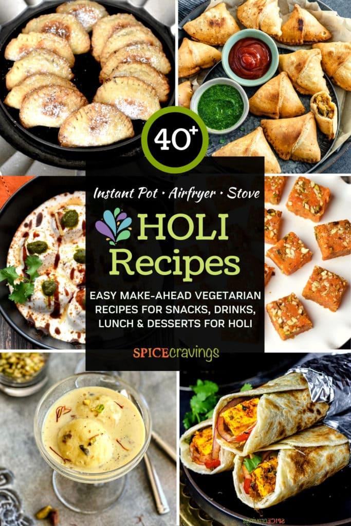 6-Image grid showing Indian recipes for Holi including gujiya, samosa, paneer roll, carrot fudge, dahi bhalla