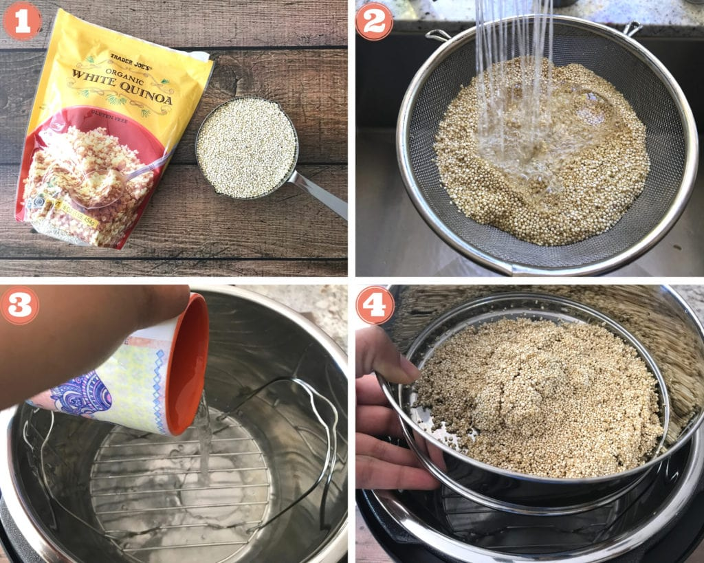 quinoa in measuring cup with package, water rinsing quinoa in sieve, pouring water out of a mug in instant pot, placing bowl with quinoa on trivet in instant pot