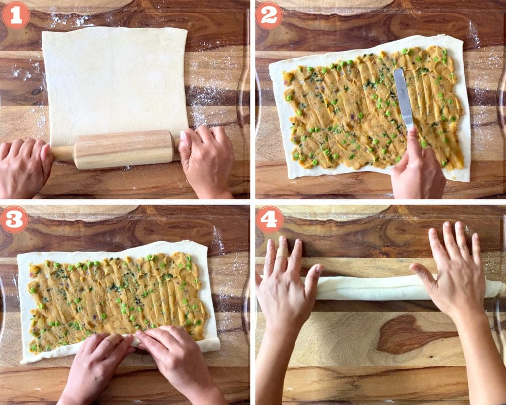 two hands rolling puff pastry with wooden rolling pin, spatula spreading samosa filling on puff pastry, two hands rolling puff pastry, two hands sealing samosa pinwheel roll