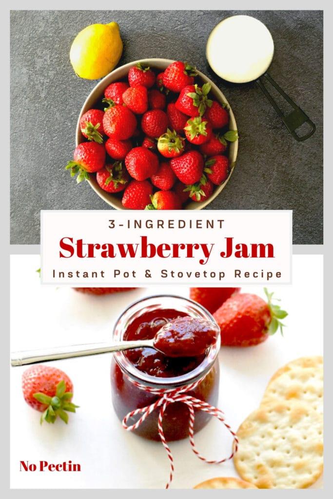 bowl of fresh strawberries, lemon, sugar in measuring cup, strawberry jam in glass jar