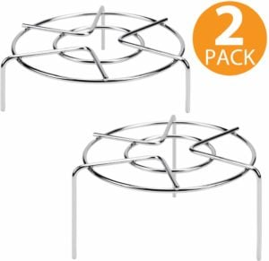 A set of tall metal trivets used in the Instant Pot