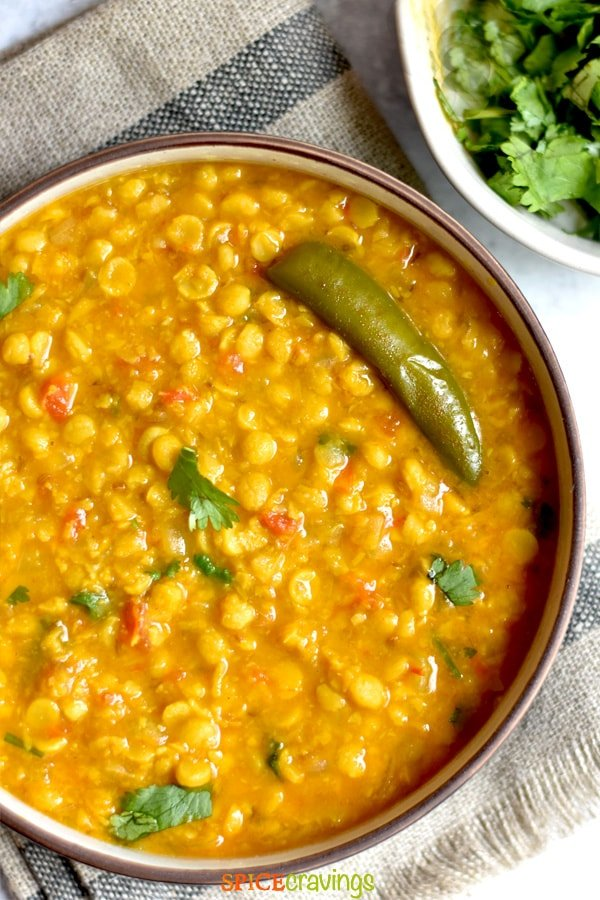 instant pot split chickpea curry in bowl