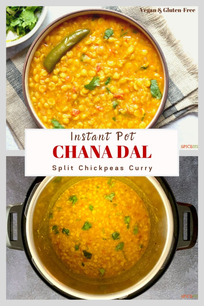 chana dal in bowl and instant pot