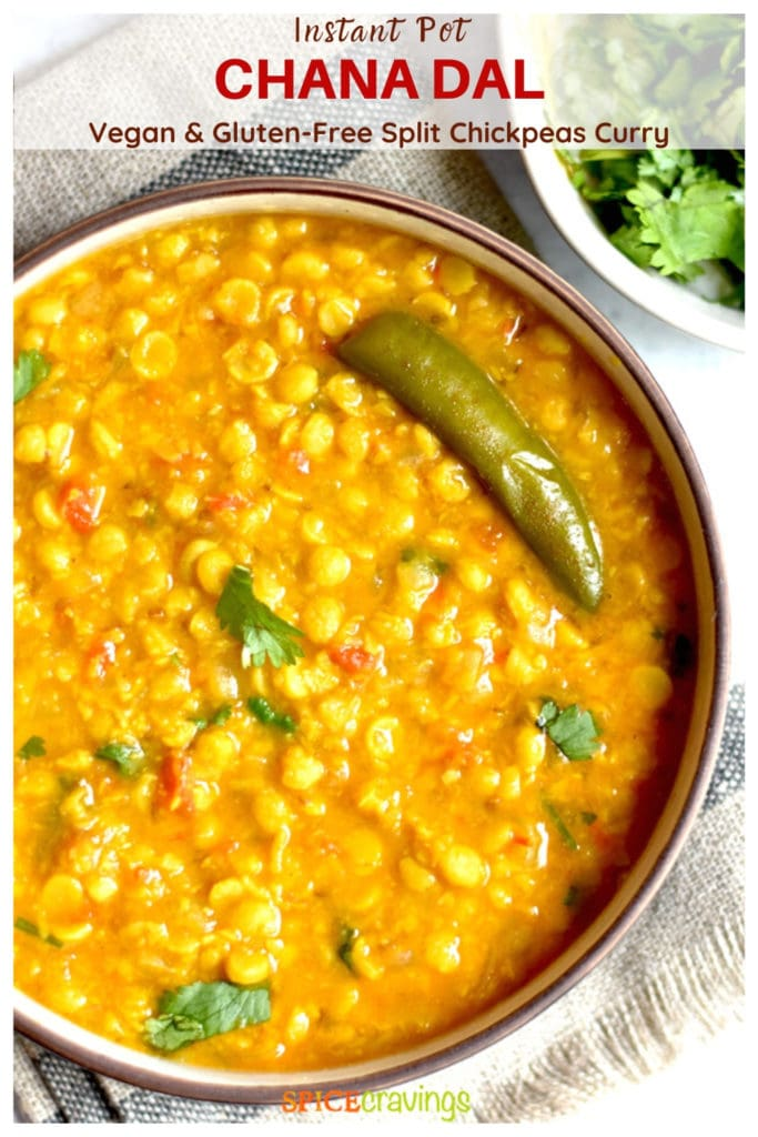 chana dal with green chili in white bowl