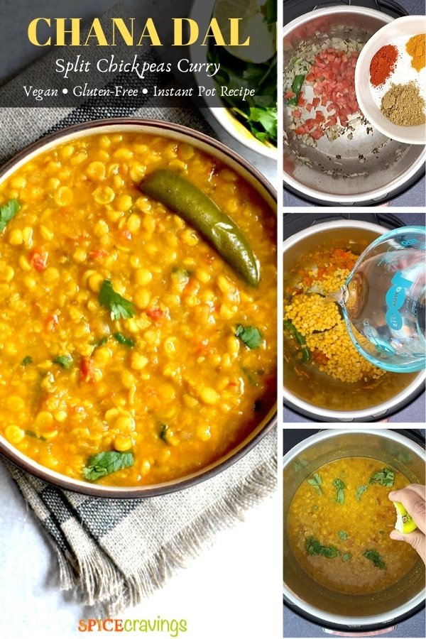 chana dal in bowl, spices, pouring water, squeezing lime