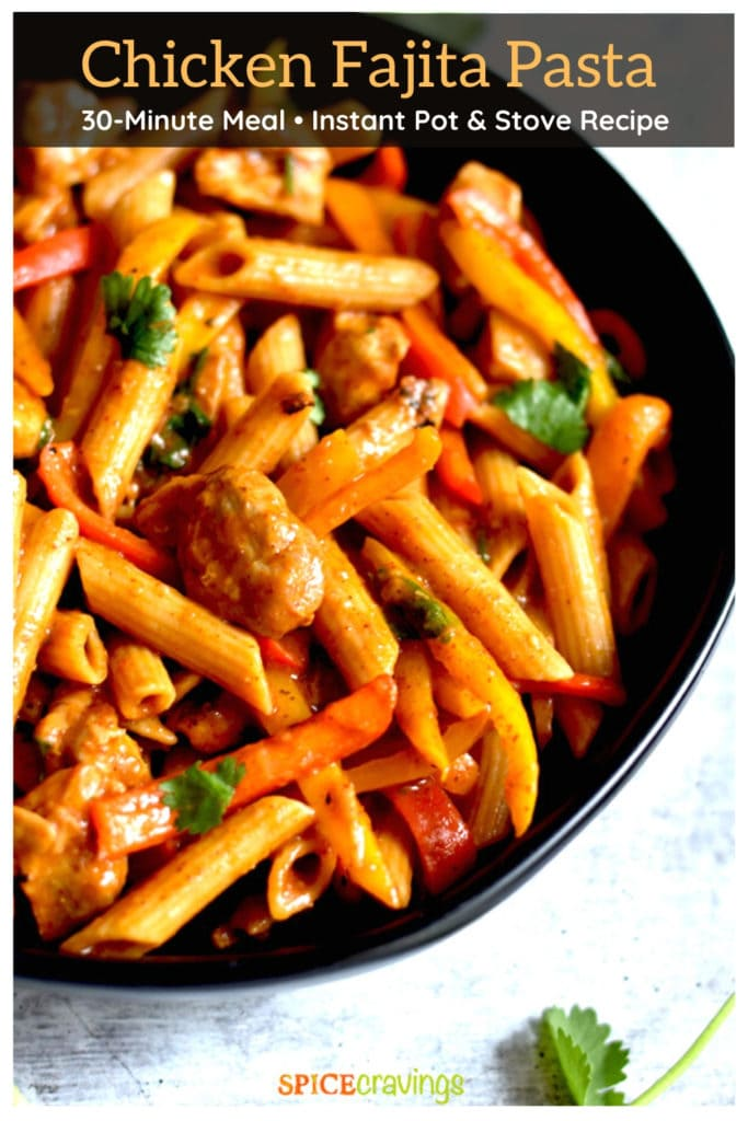 creamy chicken fajita pasta recipe in black bowl