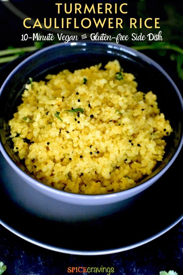 spiced cauliflower rice in gray bowl on black plate
