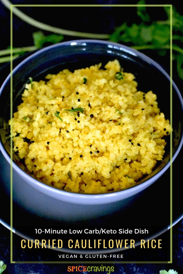 Indian riced cauliflower in gray bowl on black plate
