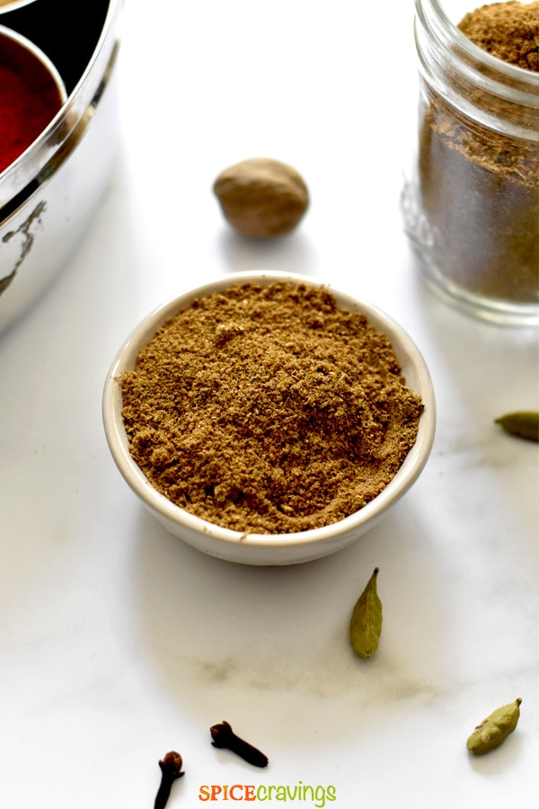 homemade Indian spice mix in small white bowl