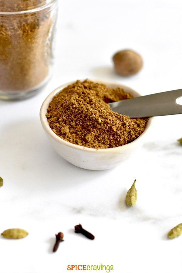 indian spice mix in small white bowl with teaspoon