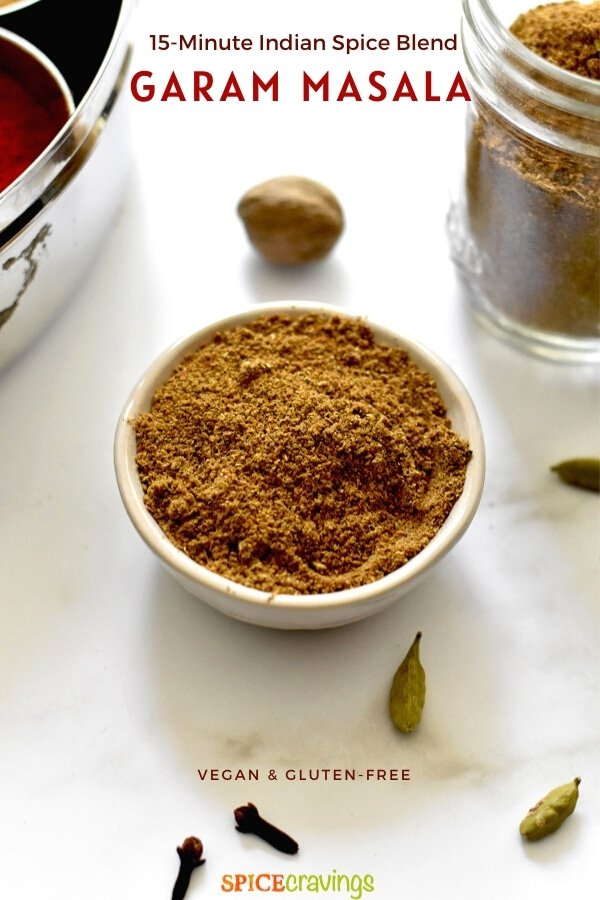 authentic Indian spice mix in small white bowl
