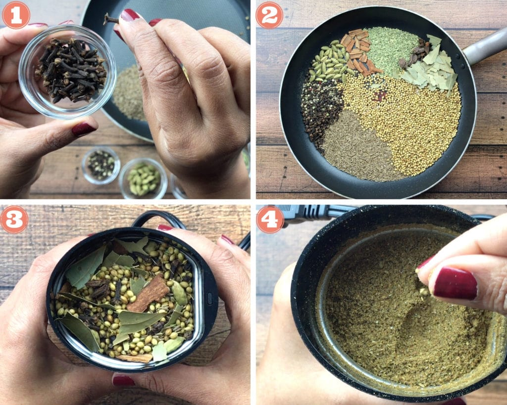 whole cloves in glass bowl, whole Indian spices in skillet, toasted spices in spice grinder, ground garam masala in spice grinder