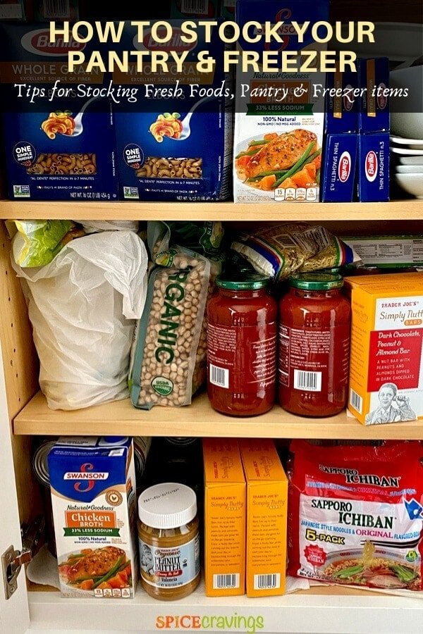 Pasta, brith, noodles, chickpeas, sauce and peanut butter in a pantry