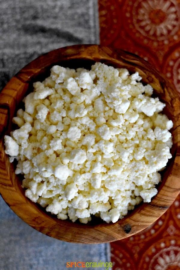 homemade khoya or mawa in a bamboo bowl
