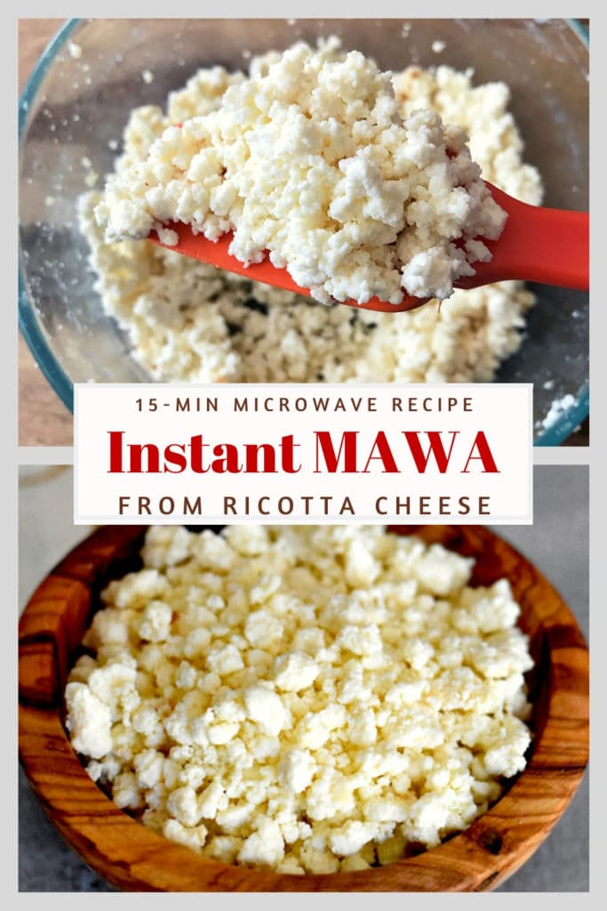 khoya from ricotta cheese in glass bowl with red spatula, homemade mawa in bamboo bowl