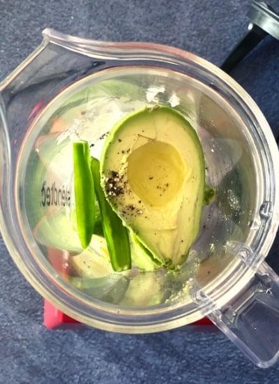 avocado and jalapeno in blender