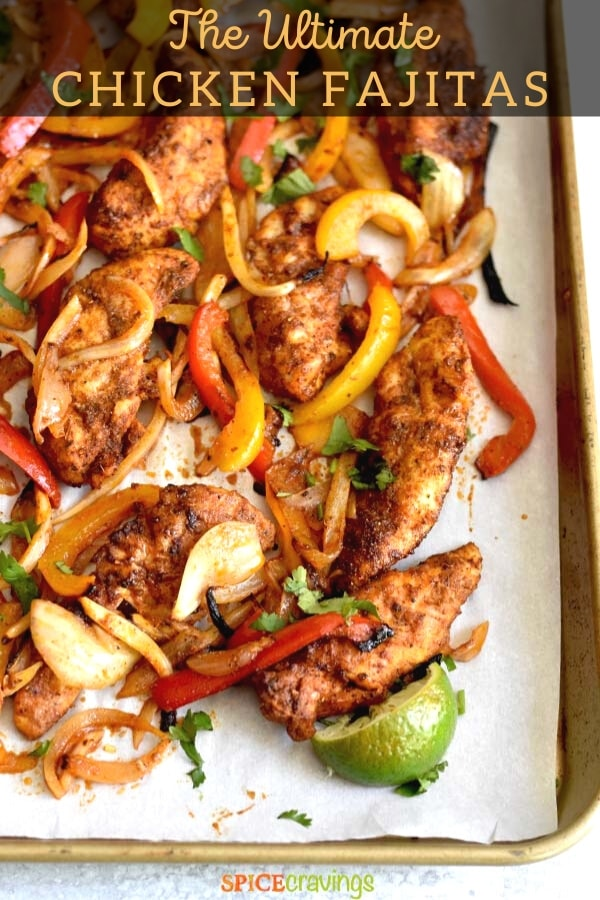chicken fajitas and vegetables pinterest graphic