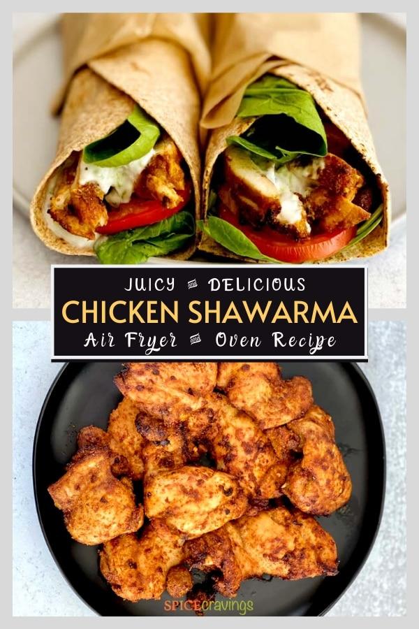 middle eastern chicken schwarma recipe pinterest graphic